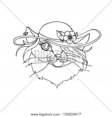hand drawn vector children's coloring book of cat. vector eps 10