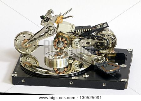 motorcycle model of the parts of the broken hard drive and other electronics