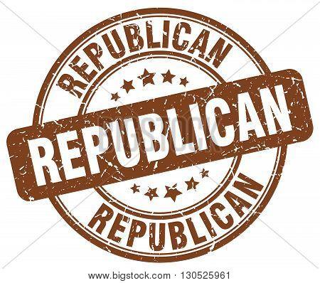 republican brown grunge round vintage rubber stamp