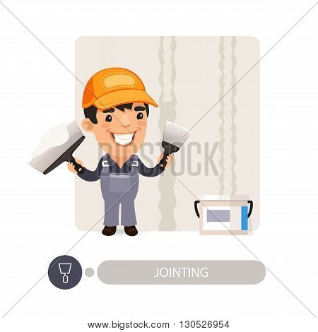 Worker dub wall joints. Cartoon character. Isolated on white background. Clipping paths included.