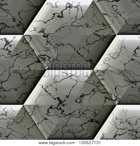 Abstract seamless black and white marbled pattern with veined structure