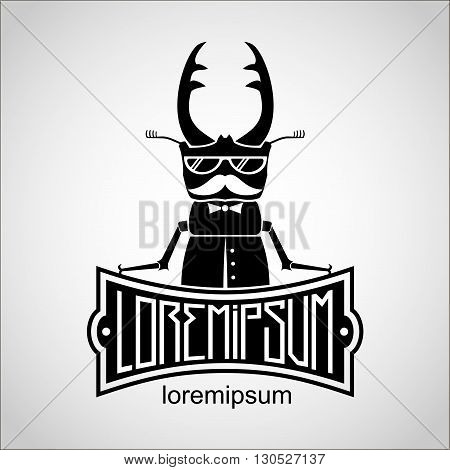 Icon with beetle deer with a mustache and glasses and a plate under the sign