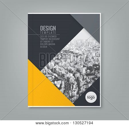 minimal simple yellow color design template background for business annual report book cover brochure flyer poster