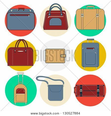 Baggage Icons. Bags and Suitcases. Vector illustration