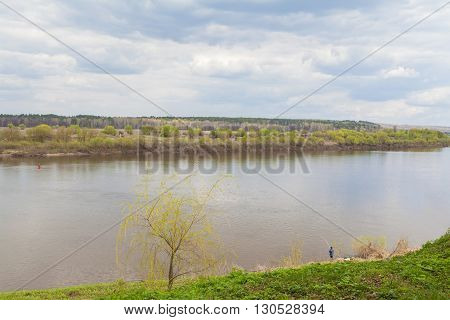 Beautiful landscape of Oka river in Tarusa
