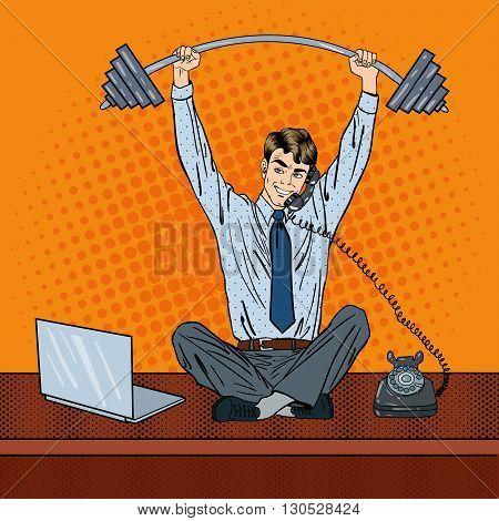 Businessman at Work. Multitasking Worker. Pop Art Vector illustration