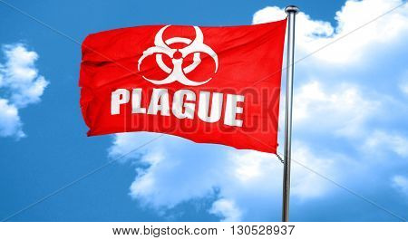 Plague concept background, 3D rendering, a red waving flag