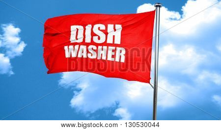 dish washer, 3D rendering, a red waving flag