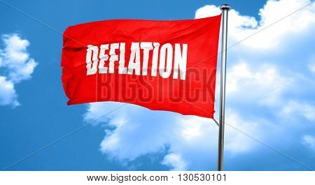 Deflation sign background, 3D rendering, a red waving flag