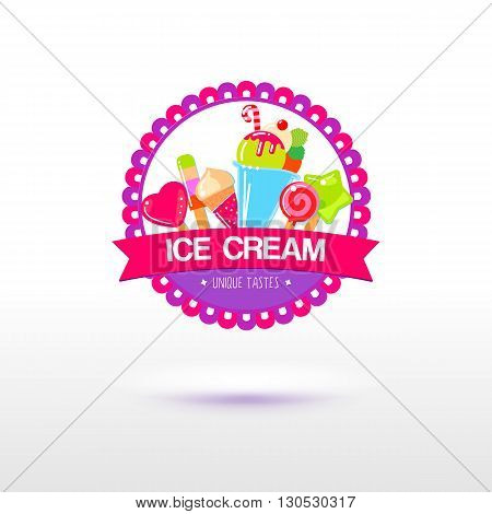 Ice cream logo for shop and packaging design. Sign for the fruite ice store. Different types of ice cream. Flat vector.