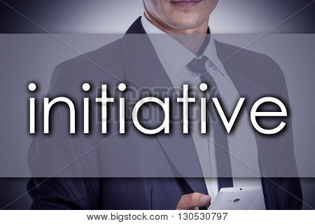 Initiative - Young Businessman With Text - Business Concept