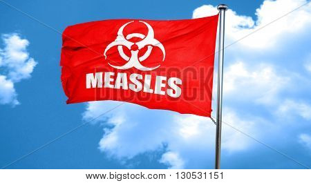 Measles concept background, 3D rendering, a red waving flag