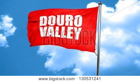douro valley, 3D rendering, a red waving flag