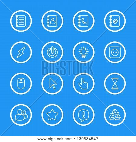 white line web icon set with circle frame for web design user interface (UI) infographic and mobile application (apps)