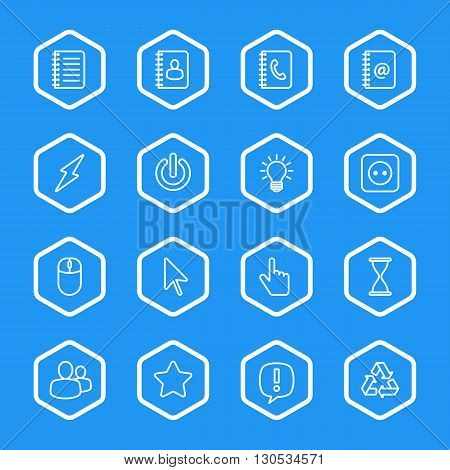 white line web icon set with hexagon frame for web design user interface (UI) infographic and mobile application (apps)