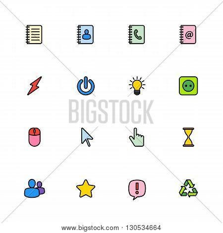 colorful line web icon set for web design user interface (UI) infographic and mobile application (apps)