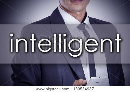 Intelligent - Young Businessman With Text - Business Concept