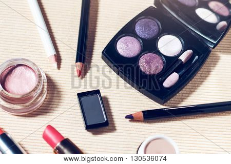 Makeup set of smokey eyes eyeshadow palette, brow powder, mascara, primer, eye pencils