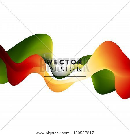 Abstract smooth color wave vector. Curve flow orange and green motion illustration