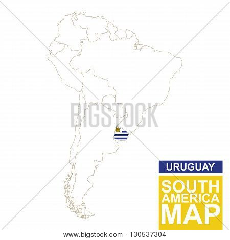 South America Contoured Map With Highlighted Uruguay.