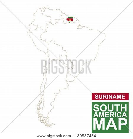 South America Contoured Map With Highlighted Suriname.