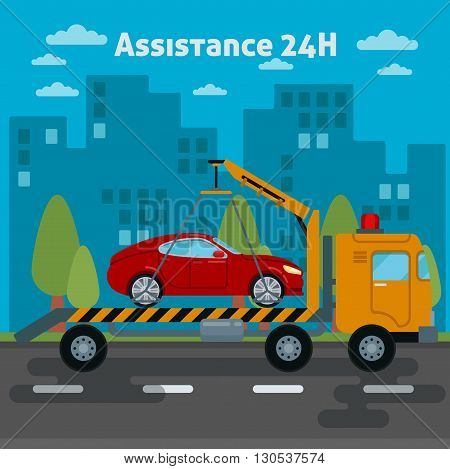 Roadside Assistance Car. Tow Truck. Vector illustration