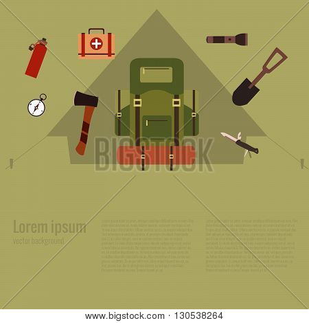 Summer hiking camp background. Vector illustration of hiking concept. Poster with hiking concept made in flat style. Summer hiking icons set: backpack, compass, flashlight. Summer hiking adventure.