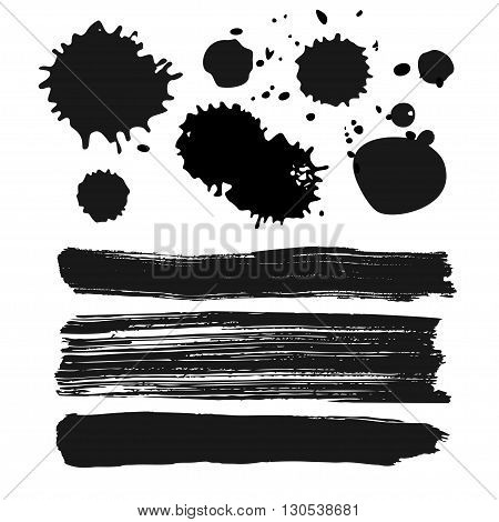 set of ink stains and splatters and rough brush strokes