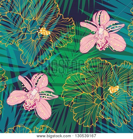 tropical pattern with pink orchids and yellow hibiscus, vector seamless pattern