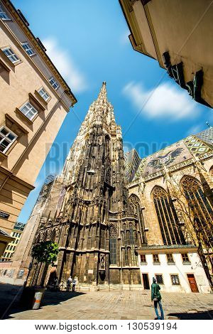 Saint Stephen's cathedral's tower in the center of Vienna in Austria