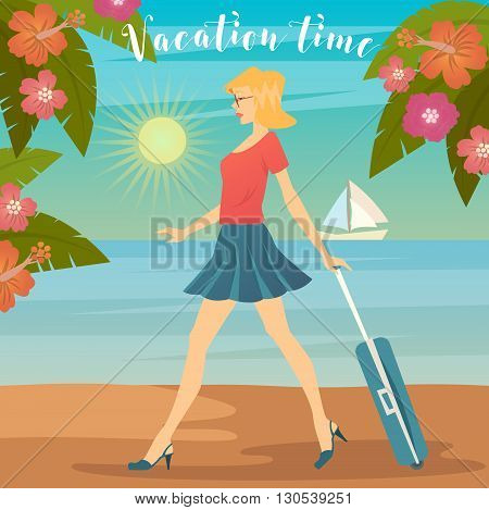 Woman on Vacation. Girl with Baggage. Vector illustration