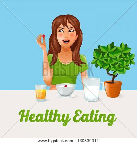 Healthy Eating. Girl Eating Berries. Healthy Food. Vector illustration