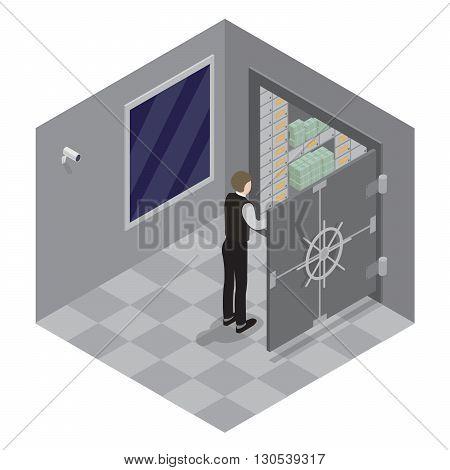 Bank Safe. Open Door of the Bank Safe. Bank Vault. Vector illustration