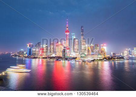 shanghai at night beautiful huangpu river and pudong skyline