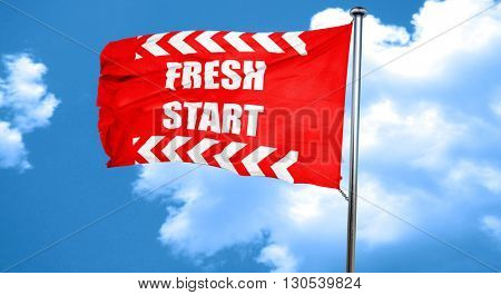 Fresh start sign, 3D rendering, a red waving flag