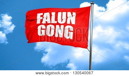 Falun gong, 3D rendering, a red waving flag