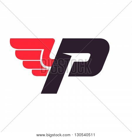 P Letter With Wing Logo Design Template.
