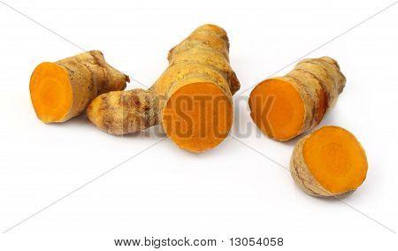 Close up of raw turmerics