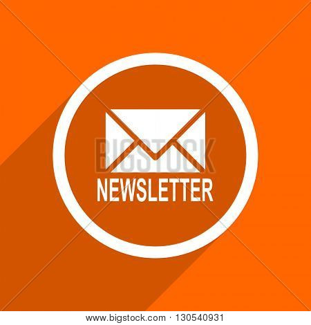 newsletter icon. Orange flat button. Web and mobile app design illustration