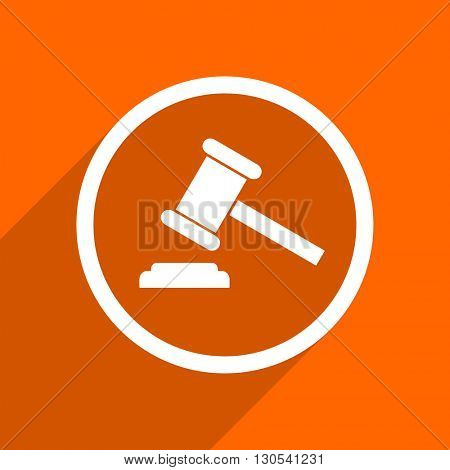 auction icon. Orange flat button. Web and mobile app design illustration