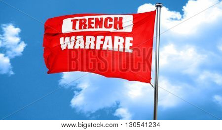 trench warfare sign, 3D rendering, a red waving flag