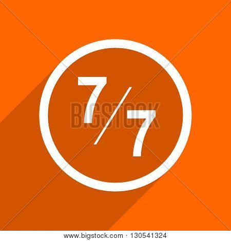 7 per 7 icon. Orange flat button. Web and mobile app design illustration