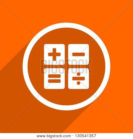 calculator icon. Orange flat button. Web and mobile app design illustration