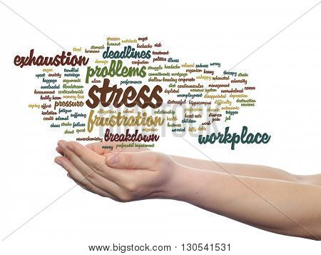 Concept conceptual mental stress at workplace or job abstract word cloud in hand isolated on background