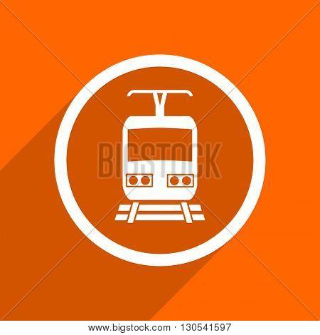 train icon. Orange flat button. Web and mobile app design illustration
