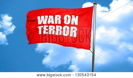 war on terror, 3D rendering, a red waving flag
