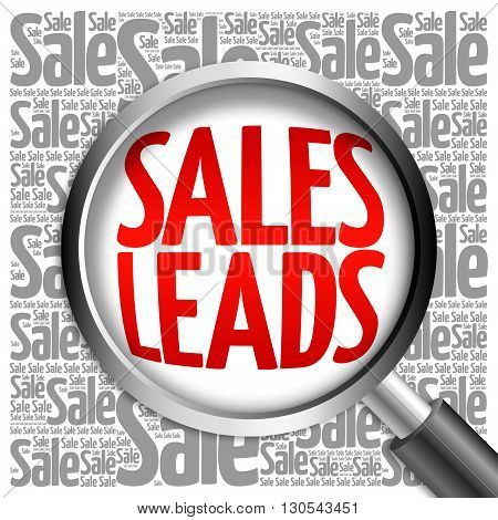 Sales Leads Word Cloud With Magnifying Glass