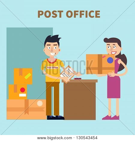 Post Office. Woman Sending Parcel. Postal Service. Vector illustration