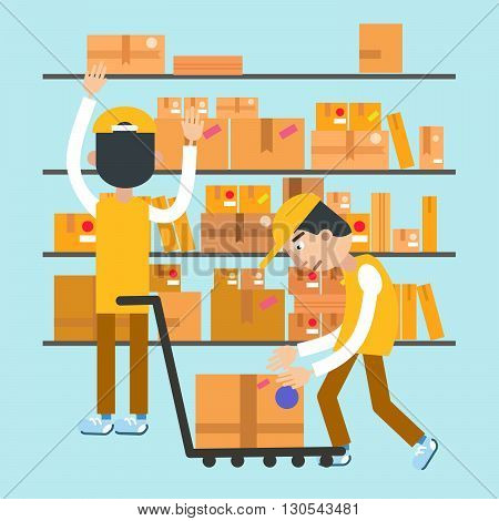 Postmen Laid Parcels. Post Office. Postal Storage. Vector illustration