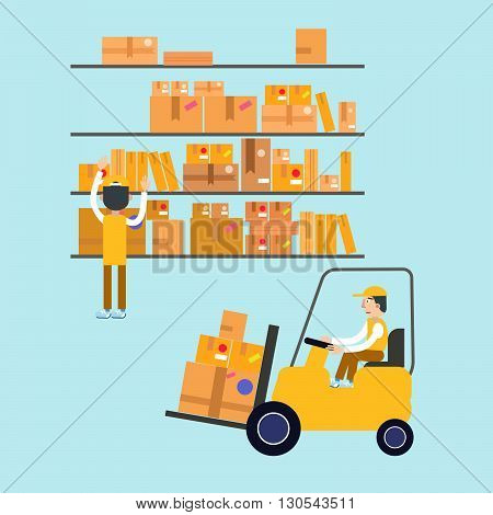 Postmen Laid Parcels. Worker on Forklift. Post Office. Postal Storage. Vector illustration